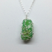 Australian Chrysoprase Wire-wrapped necklace