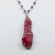 Gemmy Rhodonite, Amethyst Necklace 24 inch